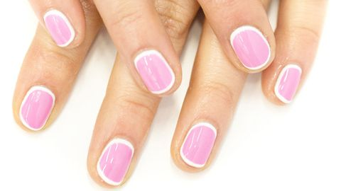 How To Pink And White Bordered Manicure Border Manicure How To