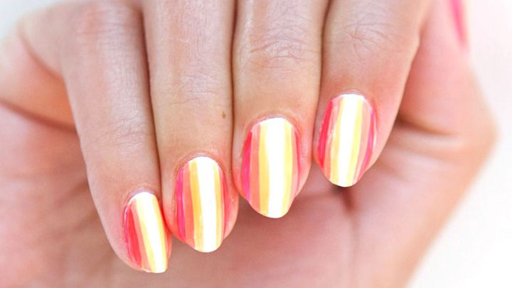 How to striped multicolored manicure multicolored nail art tutorial prinsesfo Images