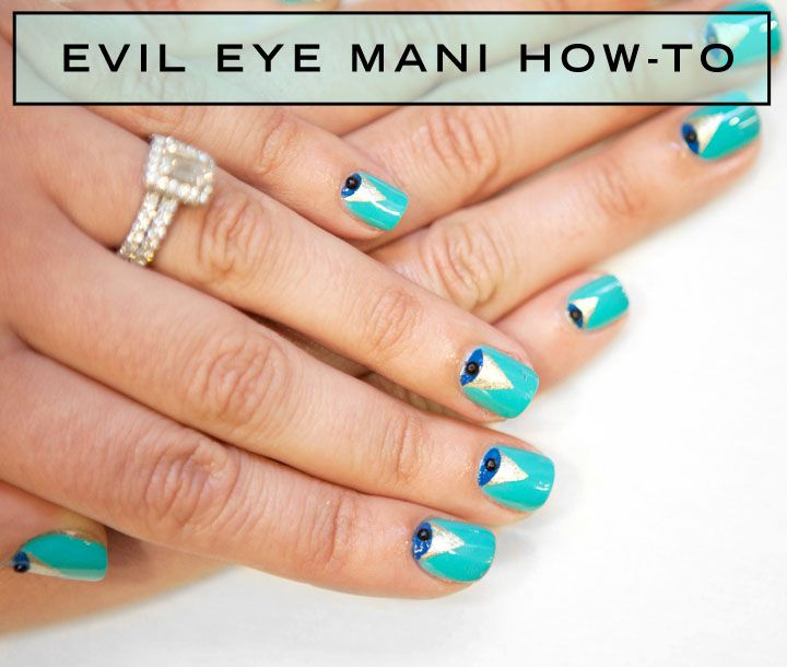 - How To Evil Eye Manicure - Blue And Turquoise Nail Art Tutorial