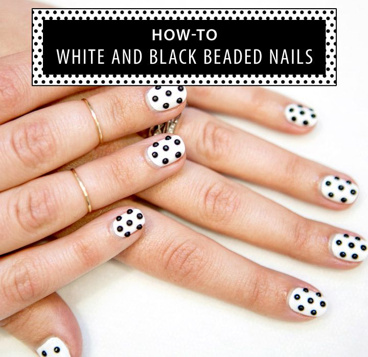- How-To White And Black Beaded Nails - Soccer Ball Nail Art Tutorial