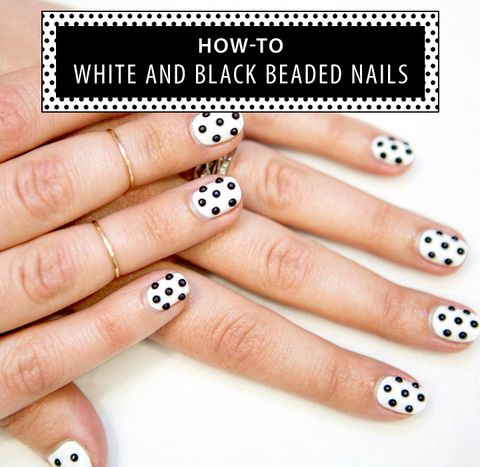 How To White And Black Beaded Nails Soccer Ball Nail Art Tutorial