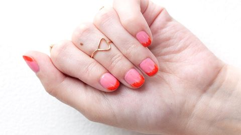 How To Create Faded French Nails Orange And Pink French Tip Nail