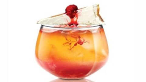 """<p class=""""p1""""><span class=""""s1""""><strong>Bleeding Berry</strong></span></p> <p class=""""p2"""">2 oz. SKYY Infusions Blood Orange</p> <p class=""""p2"""">1 oz. Lime Juice</p> <p class=""""p2"""">1 oz. Peach Puree</p> <p class=""""p2"""">1/2 oz. Hibiscus Juice</p> <p class=""""p2"""">1/2 oz. Simple Syrup</p> <p class=""""p2"""">3 Raspberries</p> <p class=""""p2"""">Raspberries for garnish</p> <p class=""""p1""""> </p> <p class=""""p1"""">Muddle Raspberries on the bottom of a rocks glass then add ice. Shake all ingredients, except hibiscus, together in a shaker. Pour over ice and raspberries. Add hibiscus juice to """"bleed"""" through cocktail.</p>"""