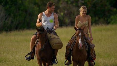 Human, Brown, Recreation, Horse supplies, Sleeveless shirt, Horse, Saddle, Outdoor recreation, Summer, Halter,