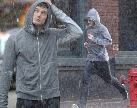 Sleeve, Human body, Fire hydrant, Jacket, Outerwear, Standing, Helmet, Winter, Hood, Street fashion,