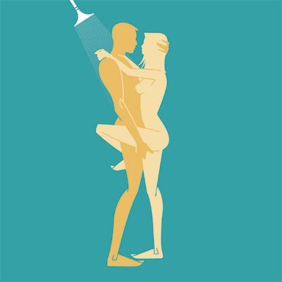Sex position for taking a shower