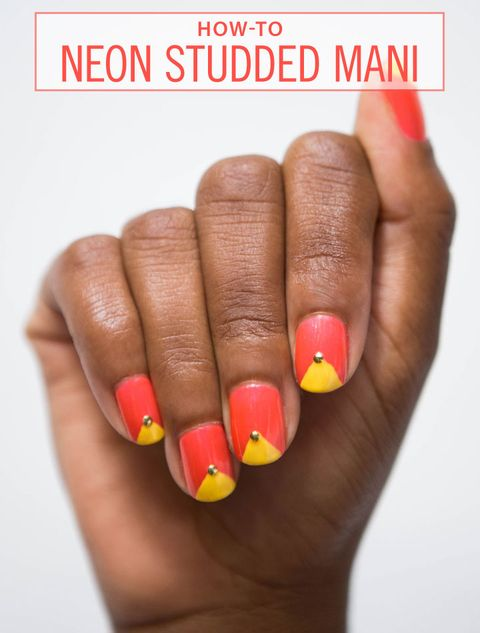 How To Create A Simple Studded Mani Sally Hansen Bright Neon Nails