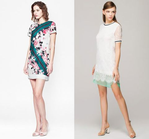 Floral Shift Dress FRENCH CONNECTION 198 White and Green Lace Dress FRONT ROW .