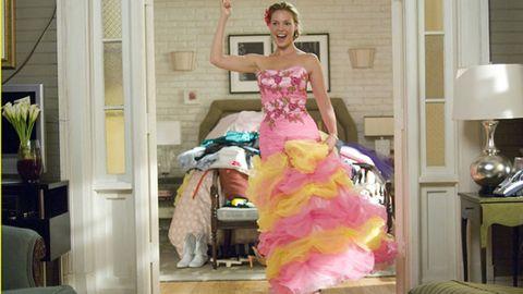 Pink, Magenta, Costume, Gown, Waist, Dancer, Dance, Ruffle, Makeover, Abdomen,