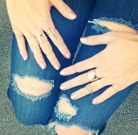 Blue, Finger, Hand, Nail, Denim, Wrist, Nail care, Thumb, Interaction, Liquid,