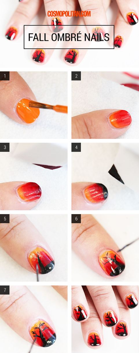 Ombre Nail Art How To Fall Nail Art Tutorial