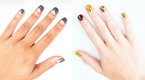 2 Nail Art Tutorials - Half Moon Manicure and Striped Nails How Tos