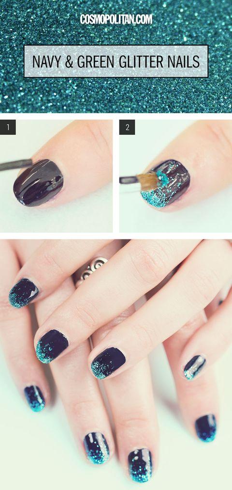 Glitter Manicure Nail Art How To Green Glitter Nails Tutorial