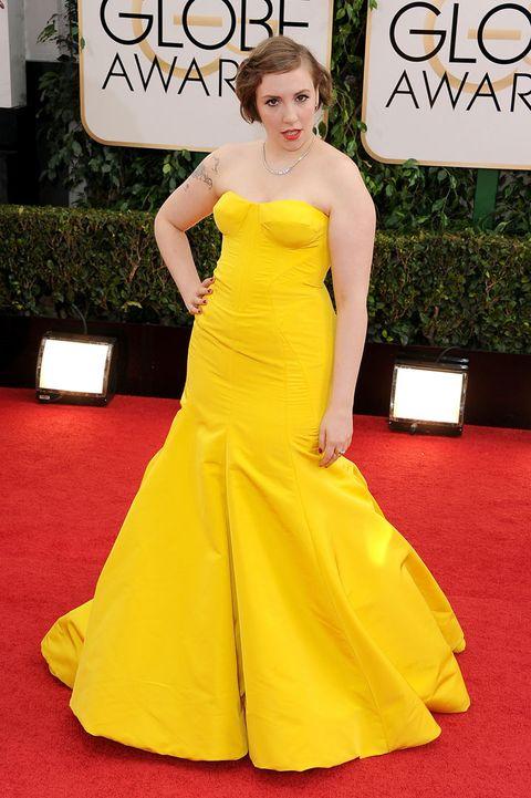Lena Dunham S Golden Globes Gown Golden Globes 2014 Red Carpet Fashion