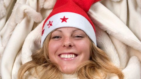 Nose, Mouth, Lip, Textile, Red, Winter, Happy, Facial expression, Organ, Costume accessory,