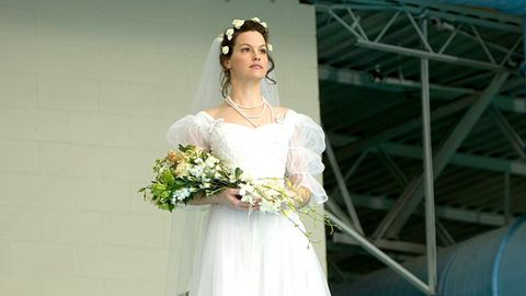Clothing, Dress, Bridal clothing, Shoulder, Textile, Bridal accessory, Photograph, Wedding dress, White, Petal,