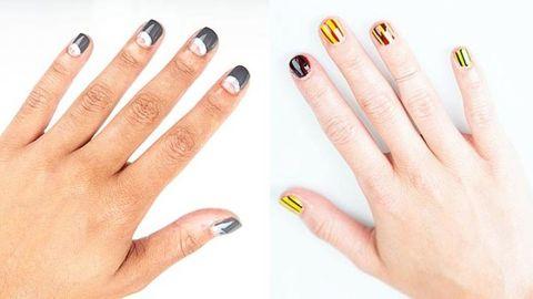 Blue, Finger, Yellow, Skin, Nail, White, Manicure, Nail care, Nail polish, Style,