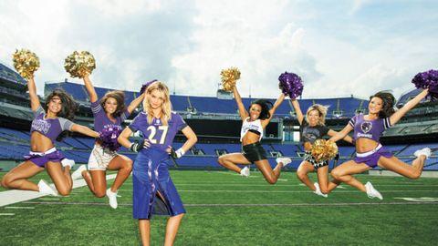 Cheerleading uniform, Cheerleading, Sports uniform, Performing arts, Entertainment, Uniform, Team, Sports, Cheering, Stadium,
