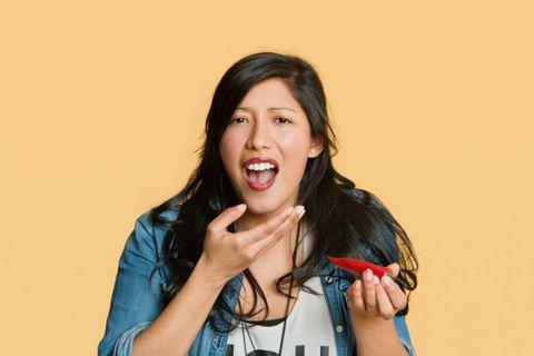Lip, Finger, Hand, Tooth, Jaw, Tongue, Camera, Bag, Bracelet, Single-lens reflex camera,