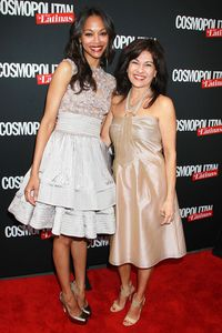 Cover star Zoe Saldana with Cosmo For Latinas Publisher, Donna Kalajian Lagani.
