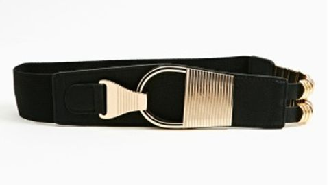 """<p>A belt can add a nice shape defining-look without being overly tight. Go for something medium to wide style, something too thin will make you look ill proportioned.</p> <p>$20, <a title=""""nasty gal"""" href=""""http://www.nastygal.com/product/armor-belt/_/searchString/belt%20"""" target=""""_blank"""">Nasty Gal</a>.</p>"""