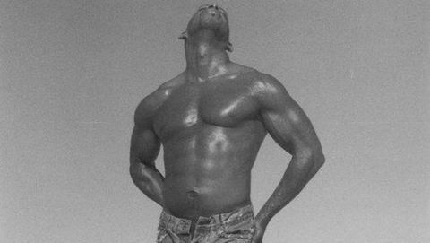 Human, Human body, Shoulder, Standing, Elbow, Joint, Barechested, Chest, Monochrome, Waist,
