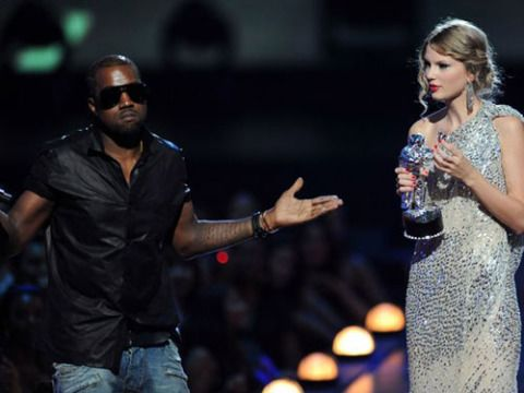"""MTV's most-talked-about on-air moment of 2009 had to be Kanye's rude interruption of 19-year-old Taylor Swift's acceptance speech at the VMAs. If you go as Taylor this Halloween, make sure your guy (or girlfriend) playing the part of Kanye doesn't mind being the token asshole of the party. <br /><br />   To do it: Whoever goes as Kanye should wear his signature """"miniblind"""" shades. For Taylor, dress up in a full-length gown and use a small-barreled curling iron to create waves in your hair. Kudos to the person who can find a fake Moonman award prop. We looked everywhere..."""