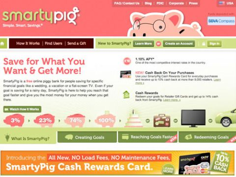 """<b>You want to:</b> Save up some extra cash <br /><br /> <b>How it works:</b> Think of this site as a piggy bank online. If you're planning a trip with your girlfriends or looking to buy a pair of <i>really</i> expensive shoes, SmartyPig helps you save money for specific purchases. It's completely free to use, and even offers cash back on some of your savings. <br /><br /> <b>Start saving:</b> <a href=""""http://www.smartypig.com/"""" target=""""_blank""""><b>smartypig.com</b></a>"""