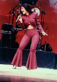 <p>Would you ever rock this red sparkly number...with the bell bottoms and all? Probably not, but you can't help but notice how amazing Selena's curvy body looked in it. Others have tried to mimic this look, but she did it best.</p>