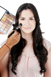 "<p>Using your fingers, buff a medium coverage foundation like M.A.C Face and Body Foundation into your skin. ""It's very natural and gives a dewy and healthy look to the face,"" Fatima says. Don't forget to bring the color down a little bit onto your neck as well for a seamless finish. Then stipple on M.A.C Studio Finish SPF 35 Concealer with the M.A.C 130 Short Duo Fibre Brush only where necessary. ""The Duo Fibre brush is a bossy brush that can manipulate and blend creamy concealers really well,"" she adds.</p>"