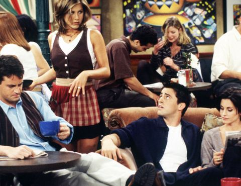 Rachel from Friends working at Central Perk