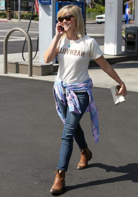 Reese Witherspoon wearing a slogan t-shirt