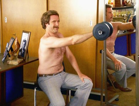 Ron Burgundy weightlifting in Anchorman