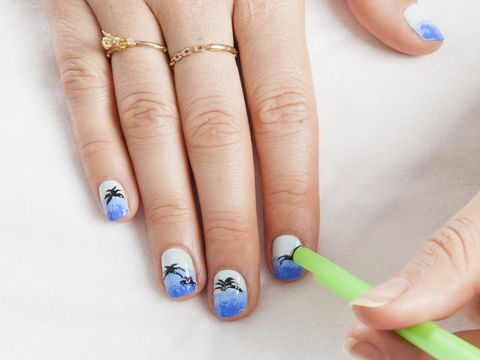Diy Nail Art How To Do Tropical Palm Trees Using A Straw And Sponge