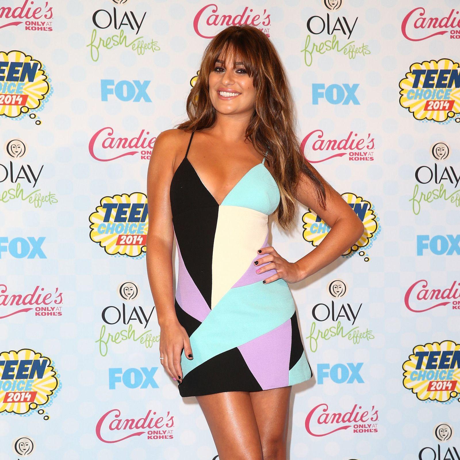 TCAs: Lea Michele wearing a Fausto Puglisi geometric print mini dress