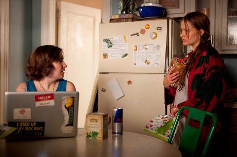 Girls Lena Dunham laptop computer Facebook Messenger app permissions