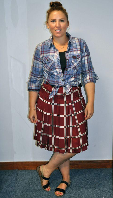 Blue, Plaid, Sleeve, Pattern, Tartan, Collar, Shoulder, Dress shirt, Textile, Standing,