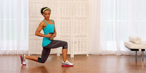 The rotating lunge kettlebell move works your whole body