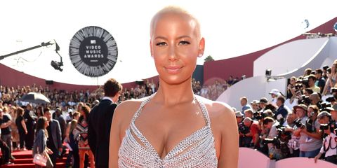 Amber Rose wears silver chain dress on the MTV Video Music Awards red carpet