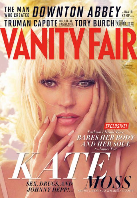 Kate Moss platinum blonde wig for Vanity Fair
