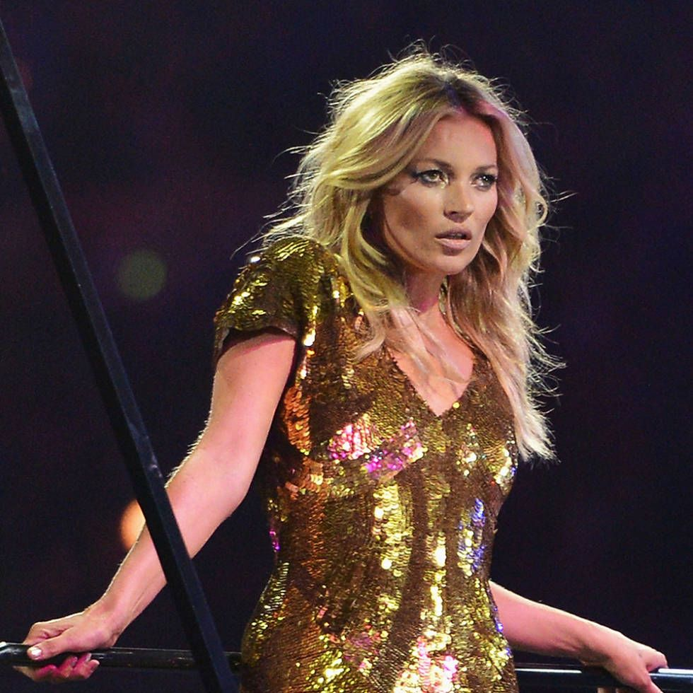 Kate Moss hair - long, centre-parted waves at the London Olympic Games Closing Ceremony