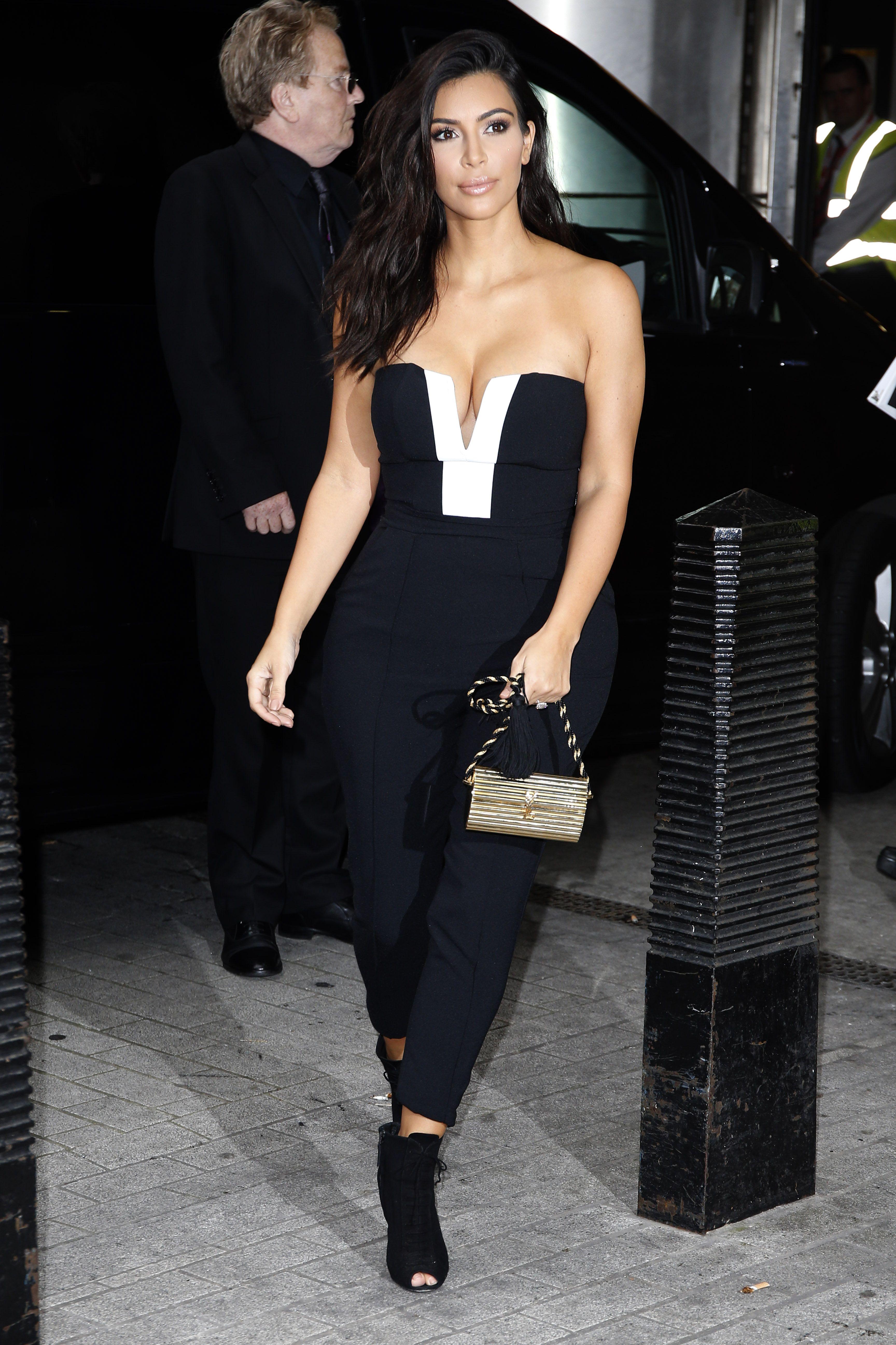 Kim Kardashian West Wears Kardashion Kollection Jumpsuit To Radio