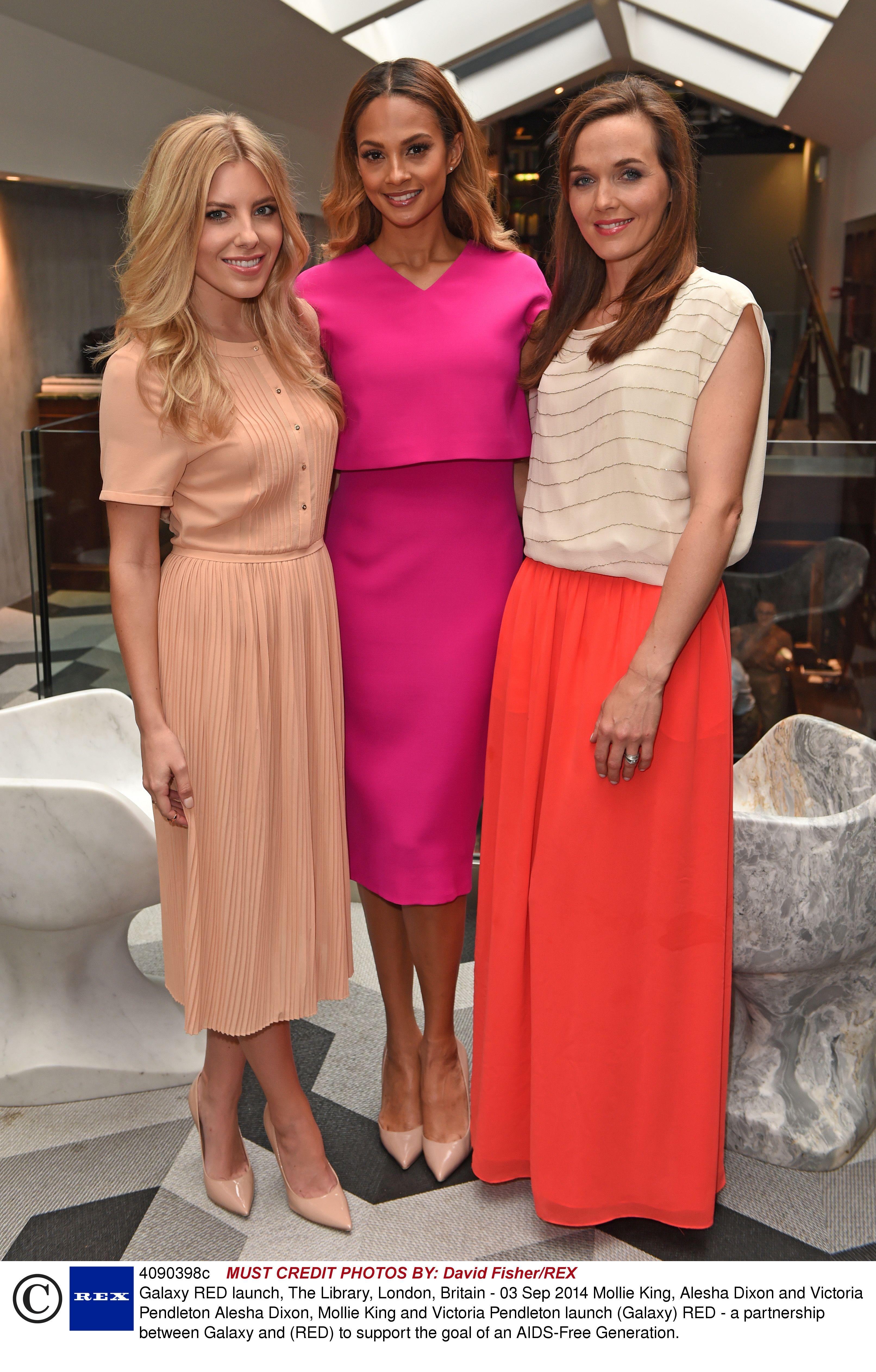 Mollie King, Alesha Dixon and Victoria Pembleton are pretty in pink