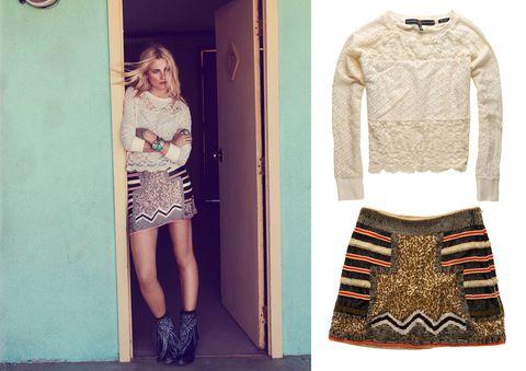 Sleeve, Shoulder, Textile, Pattern, Joint, Style, Fashion, Street fashion, Knee, Beige,