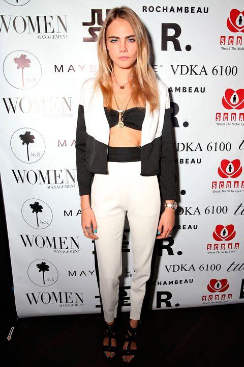 Cara Delevingne wearing monochrome