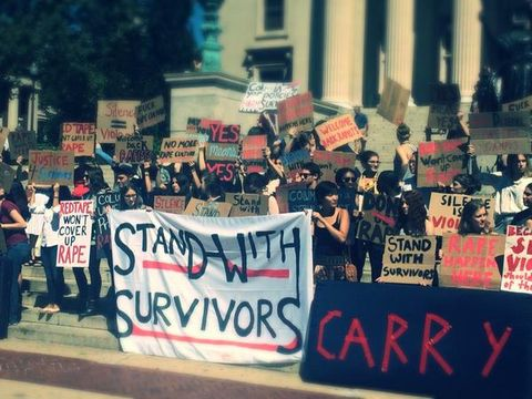 columbia students protest against university's policy on rape