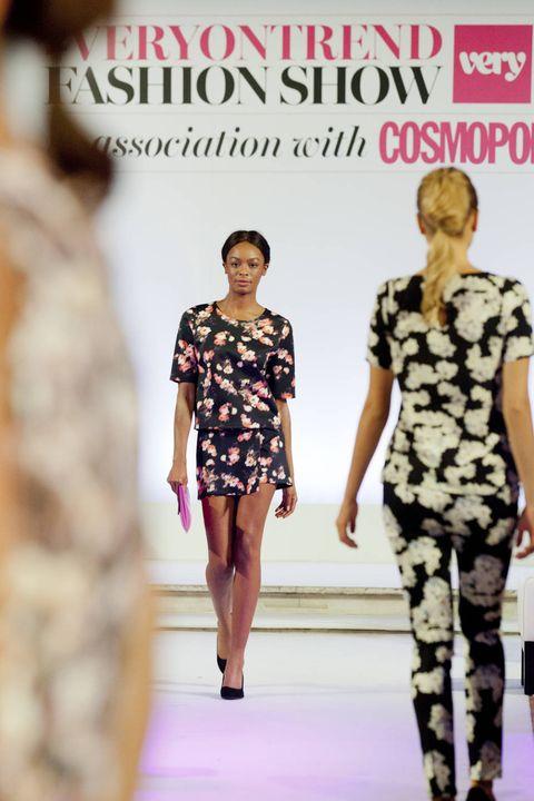 Clothing, Leg, Shoulder, Fashion show, Joint, Waist, Runway, Style, Pattern, Fashion model,