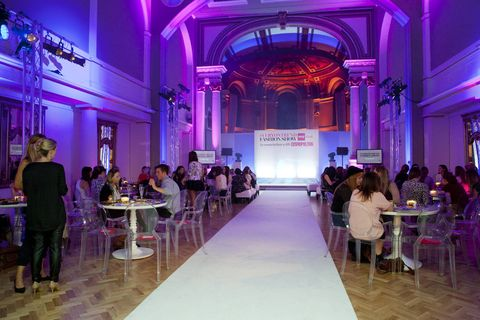 Lighting, Purple, Interior design, Furniture, Violet, Magenta, Hall, Chair, Interior design, Decoration,