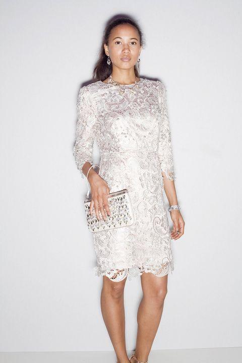 Sleeve, Shoulder, Human leg, Joint, White, Dress, Style, Pattern, One-piece garment, Day dress,