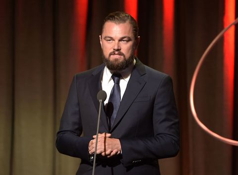 Leonardo DiCaprio is still rocking his full beard and man bun